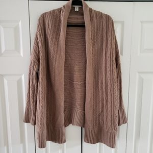 Max Studio Open Front Cardigan Camel Wool Medium